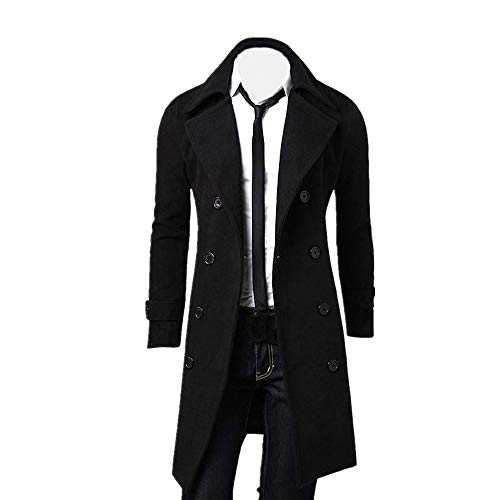 Muranba Clearance Men Slim Trench Coat Double Breasted Long Jacket (XL, Black)