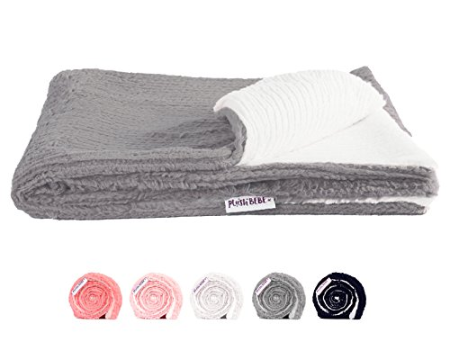 "Ultra Soft Plush Baby Blanket - Premium Quality Layette and Stroller Blankie - Cozy and Fuzzy Chenille Fur - Grey and Ivory, 29"" x 35"" - by Plush (Plush Chenille Baby Blanket)"
