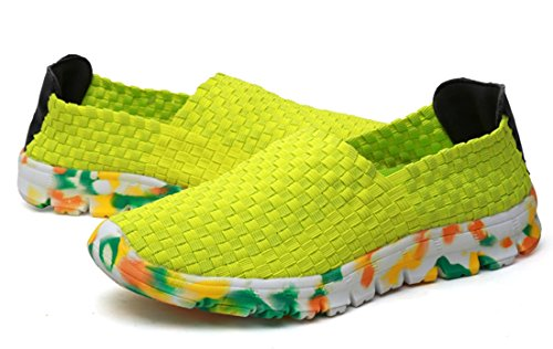Woven Sports Mesh Outdoor TDA Womens Yellow Running Lightweight Casual Sneakers Shoes wHOEEq6