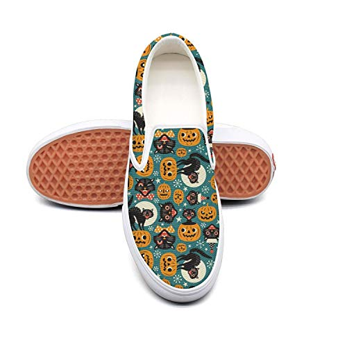 Halloween Spooky Vintage Cats And Pumpkins Non Slip Shoes for Women Sneakers -