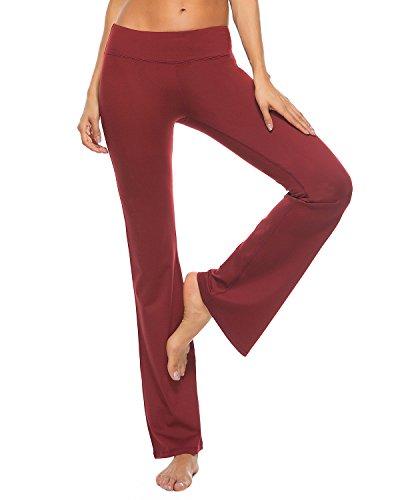 Cotton Trousers Bootcut (FengZhan Womens Bootcut Yoga Pants Casual Bootleg Trousers(Yoga18Red-M))