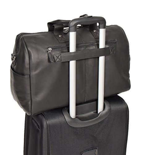 Black Real Leather Holdall Weekend Bag Business Travel Overnight Gym Bag Manila by A1 FASHION GOODS (Image #6)