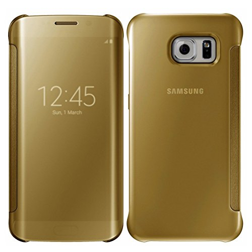 S6 Edge Plus Case,Glossy Mirror Clear View Hard Flip Smart Cover For Samsung Galaxy S6 Edge Plus (Gold)