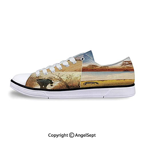 Women Sneakers with Native Wild Savannah Animals Lace-up Low Top Canvas Shoes