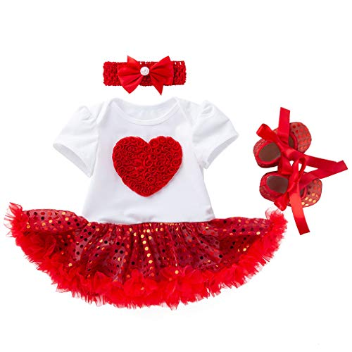 Baby and Toddler Girls Dresses Child Kids Skirt Short Sleeve Dress +Shoes Outfits Set Princess Clothes (6-12 Months, Red) ()