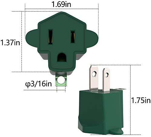 418fJBLkJzL. AC 3 Prong to 2 Prong Grounding Adapter Wall Outlet Converter, JACKYLED 2 Prong Power Adapter Fireproof Material 200℃ Resistant Heavy Duty for Household, Electrical, Indoor Use Only, Dark Green, 10 Pack    Product Description