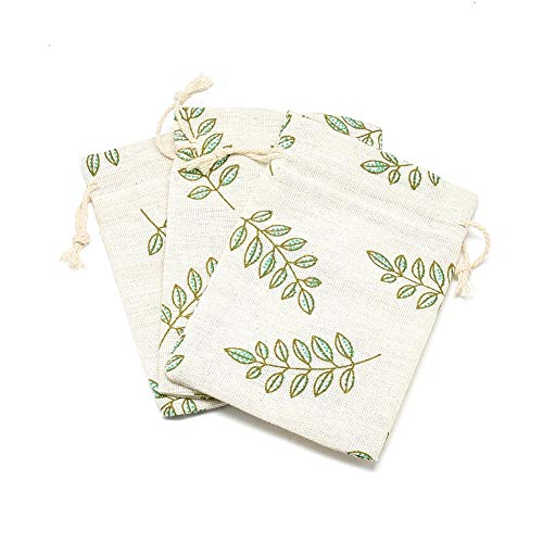 Kissitty 50 Pack Cotton Cloth Storage Bags with Drawstring 3.9x5.5 Inch Leaf Printed Reusable Jewelry Gift Pouches for Wedding Party Favor