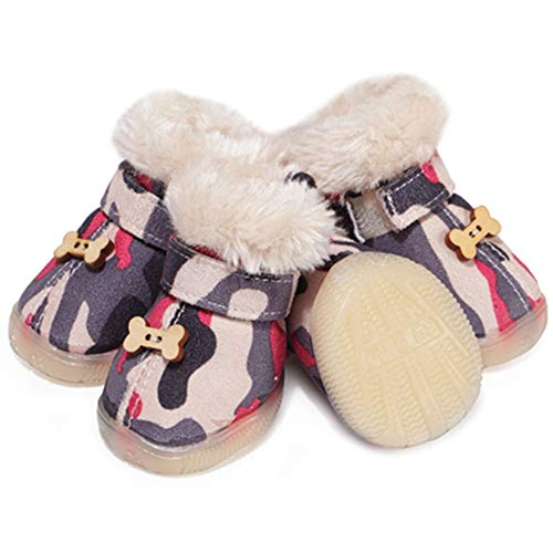 (AOFITEE Dog Boots Winter Warm Fleece Lined Pet Puppy Shoes with Soft Anti-Slip Sole, Small Dogs Comfortable Paw Protector Camo Snow Booties - 4)