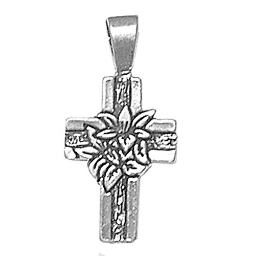 (925 Sterling Silver Unique Motif Holy Cross With Lily Flowers Charm For)