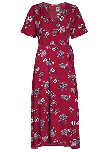 Pintage Women's Boho Wrap Dress Split Maxi Dress M Wine Chrysanthemum