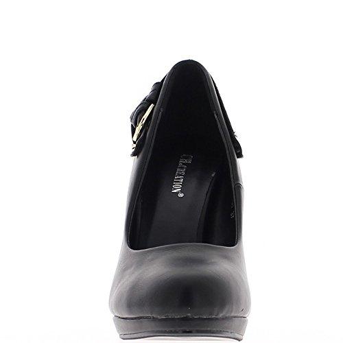 ChaussMoi Zapatos Negros con Finos Zapatos de Tacón 11cm Ronda de Consejos de