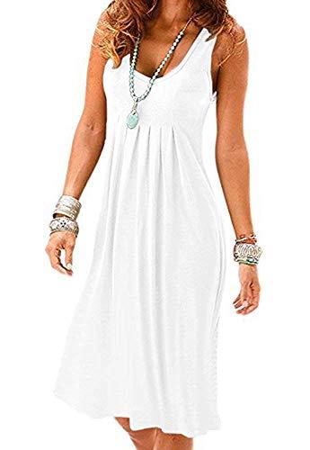 Akihoo Women's Summer Casual Sleeveless Long Sleeve Mini Plain Pleated Tank Vest Dresses #1-White Small
