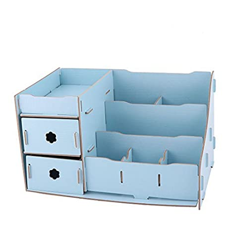 eDealMax escritorio de Madera mesa de maquillaje extraíble Misceláneas del organizador del almacenaje Caja de Blue