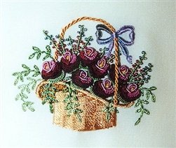 Rose Peony Basket - DK Designs EdMar thread pkt #3833