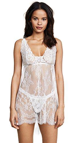 Hanky Panky Women's Victoria Lace Chemise w/G-String Light Ivory Lingerie SM