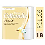 Kleenex Cottonelle Beauty, Papel Higiénico, color Blanco, paquete de 18 rollos