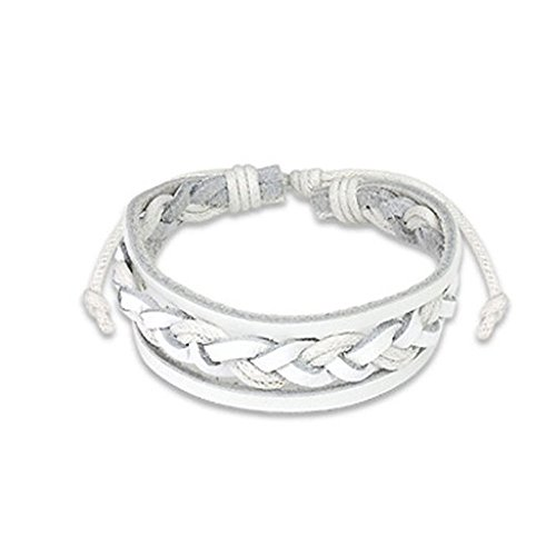 Genuine White Leather Bracelet with Double Strings and A Braided Center Adjustable Size Sliding Tie-Knot Closure (Length 7.48