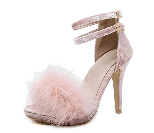 GLTER Pompes à sangle de cheville pour femme Sandales à talons hauts en peluche Chaussures à talon ouvert à cône noir Gris rose