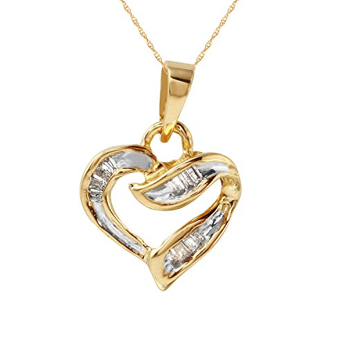 0.1 Carat Natural Diamond 10K Yellow Gold Heart Pendant Necklace for Women (0.1 Baguette Diamonds Ct)