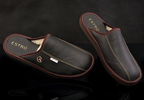 Pantofole Di Pelle Di Lusso Mens Estro Frost Marrone W / Lana