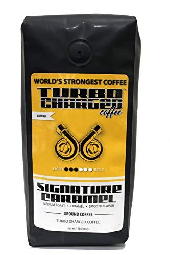 World's Strongest Coffee - Turbo Charged Coffee - Ground Coffee (Signature Caramel, 16oz bag)