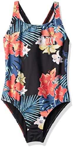 (Roxy Big Girls' Island Trip One Piece Swimsuit, True Black ULUWATU, 10)