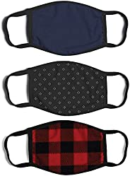 ABG Accessories Men's 3-Pack Adult Fashionable Germ Protection, Reusable Fabric Face Mask, B087XB