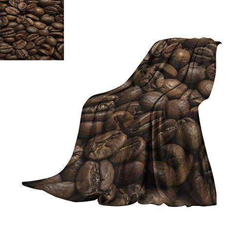 (RamonDecorFH Coffee,Soft Blanket Microfiber Flavored Roasted Arabica Beans Ready for Brew Fresh Drink of Mocha for Robust Breakfast Throws for Couch Bed Living Room W60 x L50 inch)