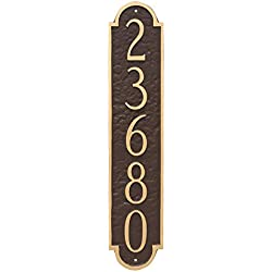 "Montague Metal PCS-0128S1-W-BW Rockford Column Address Sign Plaque, 18.75"" x 3.75"", Black/White"