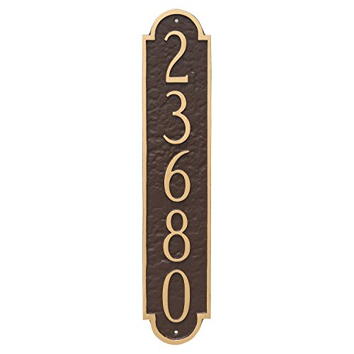 Montague Metal PCS-0128S1-W-BRG Rockford Column Address Sign Plaque, 18.75