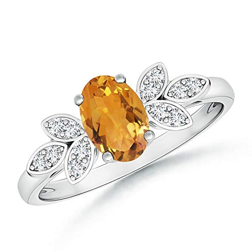 Oval Citrine Diamond Accent Ring - Vintage Style Oval Citrine Ring with Diamond Accents in 14K White Gold (7x5mm Citrine)