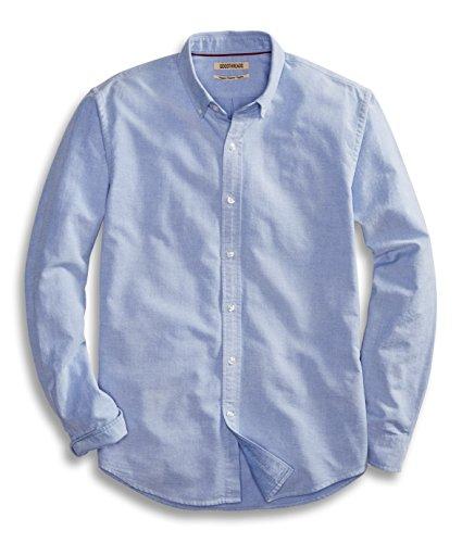 Goodthreads Men's Regular-Fit Long-Sleeve Solid Oxford Shirt, Blue, Medium