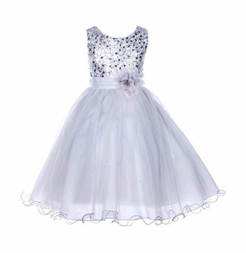 ekidsbridal Glitter Sequin Tulle Junior Flower Girl Dresses Christening Dresses B-011NF S for $<!--$28.99-->