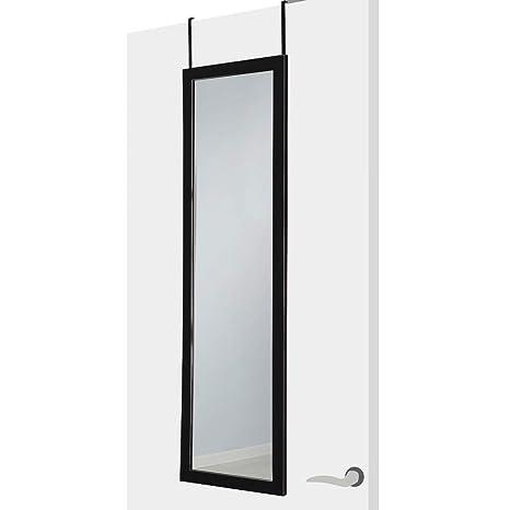 Lola Home 122544 Espejo de Puerta Moderno de Plástico para Dormitorio, PVC, Negro, 36x126x2 cm