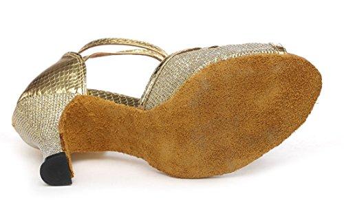 Tda Kvinners Peep Toe Ankel Strap Glitter Salsa Tango Ballroom Latin Moderne Dansesko Gull