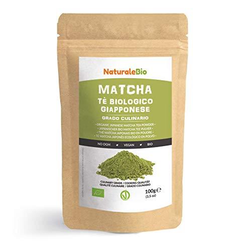 Matcha Tee Pulver Bio [ Cooking-Qualität] 100 GR. Original Green Tea aus Japan. Japanischer Matcha Ideal zum Smoothies – Shakes - Latte. Tee hergestellt in Japan Uji, Kyoto. NaturaleBio