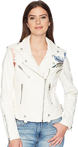 Blank NYC Women's Vegan Leather Jacket with Palm Tree Embroidery in Palm Breeze Palm Breeze Small