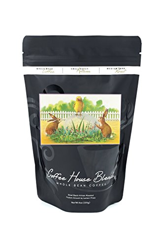 Easter Greetings Chick (Easter Greetings Scene of a Chick and Bunnies (8oz Whole Bean Small Batch Artisan Coffee - Bold & Strong Medium Dark Roast w/ Artwork))