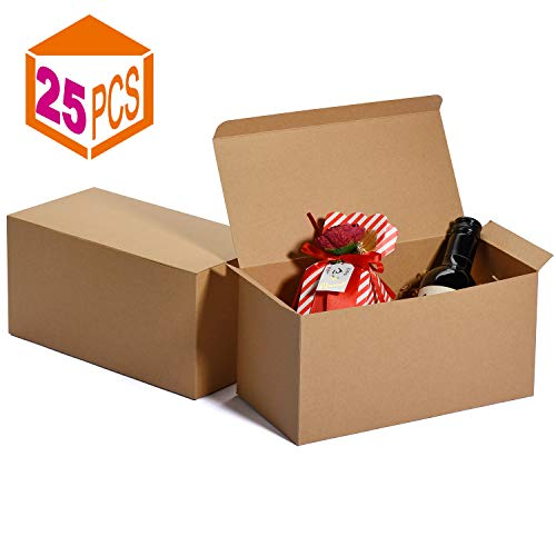 Wine Glass Boxes (MESHA Groomsmen Gift Boxes 9x4.5x4.5 Inch Gift Boxes Bulk Gift Boxes with Lids Brown Kraft Paper Boxes Easy Assemble Boxes for Wrapping Gifts)