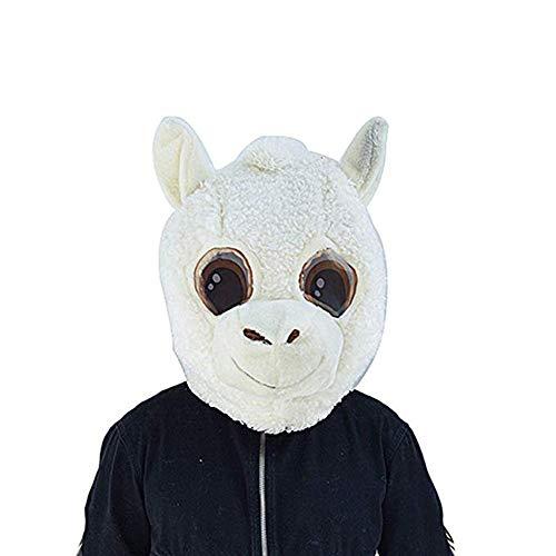 Plush Alpaca Animal Sheep Head Mask Halloween Goat Mascot Costume White]()