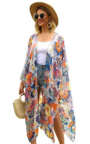 Hibluco Women's Casual Printed Kimono Cardigan Sheer Tops Loose Blouse