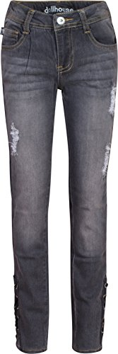 dollhouse Girl's Denim Jeans with Lace-Up Bottoms and Rips, Grey Wash w/ Lace, Size (Girls Distressed Jeans)