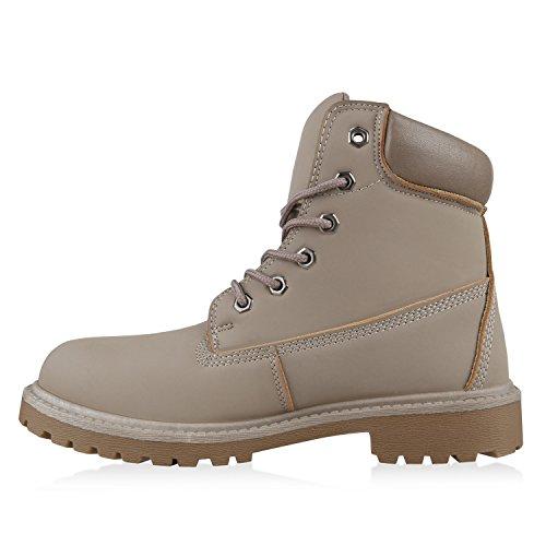 Stiefelparadies Gefüttert Herren Worker Boots Schnürstiefel Schuhe Profilsohle Flandell Stone