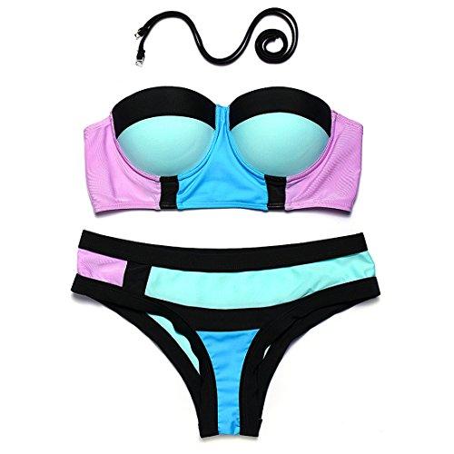 WANGXN costura pequeñas puntal de acero bikini de la mujer de moda fresco frunce empujados traje de baño lindo days blue