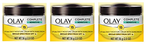 Face Moisturizer by Olay, Complete All Day Moisture Face Cream with Sunscreen SPF 15, Sensitive Skin, 2.0 fl. oz. (Pack of 3)