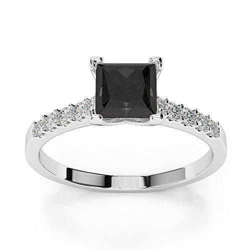 G-H/VS 1CT Coupe Princesse sertie de diamants Noir Bague de fiançailles en platine 950Agdr-1210