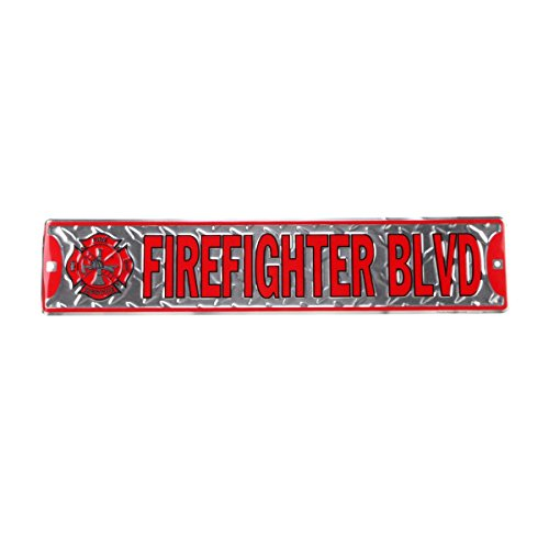 Firefighter Blvd Diamond Plate Metal Street Sign - Fire Dept Tin Sign