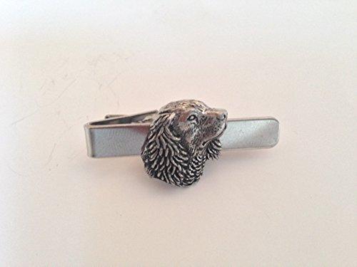 R24SM Tête de cocker anglais English Pewter emblème sur une pince à cravate 4cm fait à la main à Sheffield Livré avec prideindetails Boîte Cadeau
