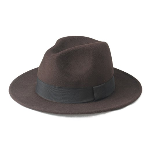 Douhuayu Panama Top Hat Wool Women's Men's Chapeu Feminino Fedora Hat for Laday Gentleman Wide Brim Sombreros Jazz Church Cap (Color : 6, Size : 57-59CM) by Douhuayu