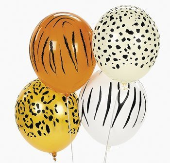 Jungle Animal Print Safari Balloons 50PC, -